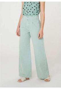Calça Feminina Pantalona Em Sarja Verde