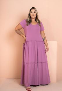 Vestido Longo Três Marias Lilas Plus Size
