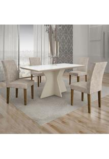 Conjunto De Mesa De Jantar Creta Com 4 Cadeiras Olímpia Suede Branco E Palha