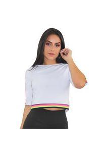 Blusa Casaco Feminino Branca Com Detalhe Barra Eslastico Colorfull