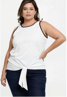 Blusa Feminina Amarração Plus Size Sem Manga
