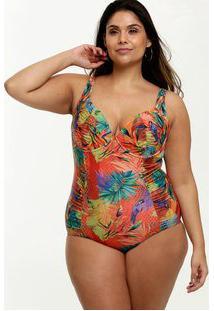 Maiô Feminino Plus Size Estampa Tropical Banho De Mar