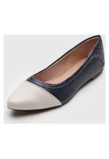 Sapatilha Dafiti Shoes Bico Fino Tressê Azul-Marinho