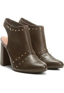 Ankle Boot Cravo & Canela Salto Grosso Tachas - Feminino-Marrom