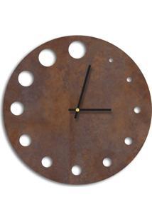 Relógio De Parede Decorativo Premium Corten Com Detalhes Vazado Médio