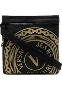 Versace Jeans Couture Bolsa Com Zíper E Logo Gravado - Preto
