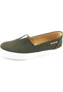 Tênis Slip On Quality Shoes Poá Feminino - Feminino-Preto