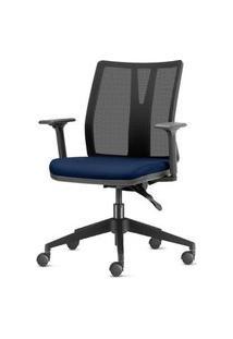Cadeira Addit Assento Crepe Azul Marinho Com Base Piramidal Em Nylon - 54113 Azul
