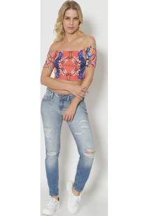Blusa Cropped Com Tag- Azul & Laranja Claro- Tritontriton