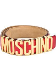 Moschino Cinto De Couro Com Logo - Vermelho