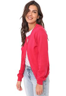 Cardigan Facinelli By Mooncity Tricot Liso Rosa