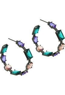 Brinco Infine Argola Multicolorida Cristais Violeta, Pêssego E Verde Turmalina