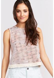 Blusa Em Tweed - Off White & Rosãªpop Up