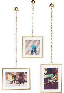 Conjunto De Porta-Retratos Pendente Chain Dourado