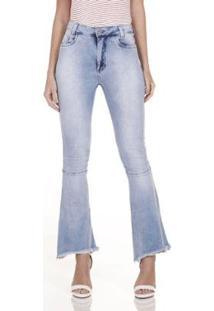 Calça Jeans Areazul Flare Feminina - Feminino-Azul