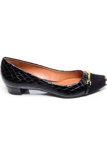 ec970e337db ... Sapato Feminino Salto Baixo Luz Da Lua Preto