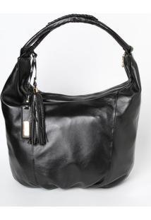 Bolsa Em Couro Com Bag Charm- Preta- 30X34X18Cm-Edu Bolsas