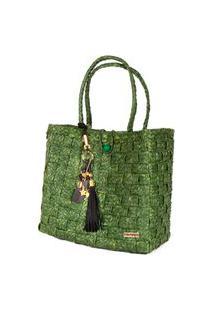 Bolsa Tote-Shopper Palha Feminina Berloques Metais Passeio Verde