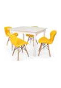 Conjunto Mesa De Jantar Robust 110X90 Branca Com 4 Cadeiras Eames Eiffel Slim - Amarela