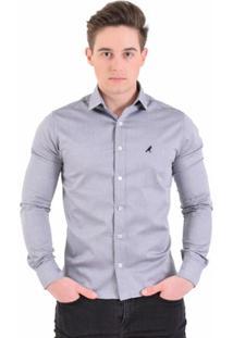 Camisa Social Listrada Masculina - Slim - Masculino-Cinza Claro
