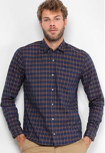 Camisa Xadrez Lacoste Regular Fit Manga Longa Masculina - Masculino-Marinho