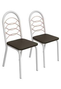 Kit 2 Cadeiras Holanda Branco Fosco E Marrom 2C079Bfr-21 Kappesberg