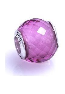 Pingente Em Prata You Murano Facetado Rosa Translúcido 9Mm