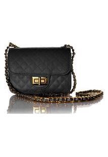 Bolsa Feminina Matelassê E Corrente Dourada Luxo Lançamento Blogueira Preto