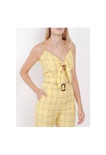 Blusa Cropped Xadrez Feminina Amarelo