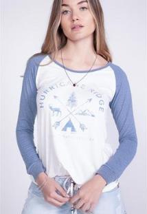 Camiseta O'Neill Manga Longa Estampada Hurricane Feminino - Feminino-Azul