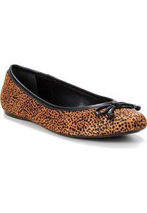 Sapatilha Couro Shoestock Pelo Cheetah Feminina - Feminino-Onça