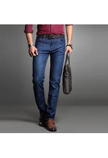 Calça Jeans Masculina Slim Reta - Azul