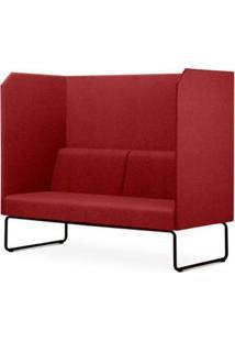 Sofa Privativo Pix Com Divisoria E Assento Mescla Vermelho Base Aco Preto - 55087 - Sun House