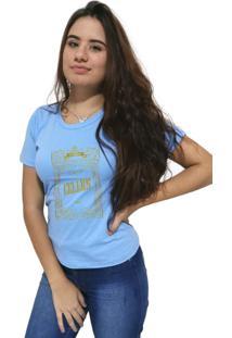 Camiseta Feminina Cellos Retro Frame Premium Azul Claro - Kanui