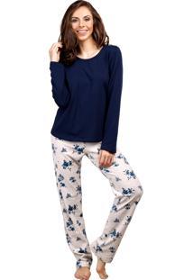Pijama Inspirate Longo Floral Jeans
