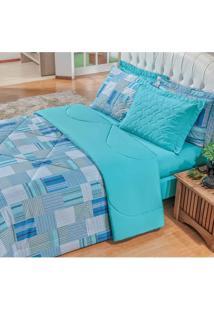 Jogo De Cama Para Casal Premium Geométrica 180 Fios Estampado Azul 04 Peças - Bordados Ricardo