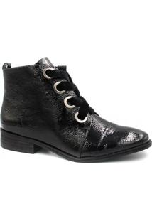 Bota Cano Curto Zariff Shoes Ankle Boot Verniz Feminina - Feminino-Preto