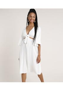 Vestido Saída De Praia Feminino Midi Com Argola E Nó Manga 3/4 Decote V Off White