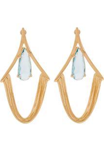 Brinco Correntes Longo Semijoia Banho De Ouro 18K Cristal Azul