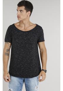 Camiseta Masculina Longa Manga Curta Gola Canoa Preta