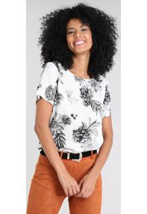Blusa Feminina Mullet Estampada Floral Manga Curta Decote Redondo Off White