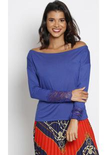 Blusa Ombro A Ombro Com Renda - Azul Escuro - Thiptothipton