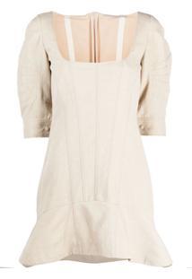 Stella Mccartney Vestido Com Decote Quadrado E Babados - Neutro