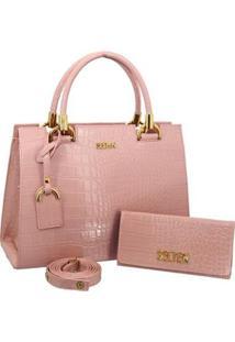 Kit Selten Bolsa Handbag Textura Croco Alça Removível & Carteira Feminina - Feminino-Rosa