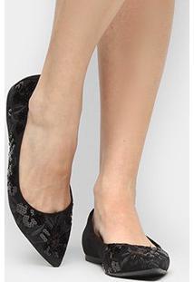 Sapatilha Shoestock Bico Fino Bordado Floral