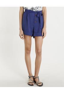 62152edb1 CEA. Short Feminino Clochard Cintura Alta Com Botões Azul Marinho