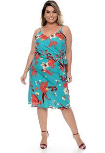 Vestido Domenica Solazzo Turquesa Plus Size