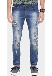 Calça Jeans Skinny Rock & Soda Super Rasgada Masculina - Masculino