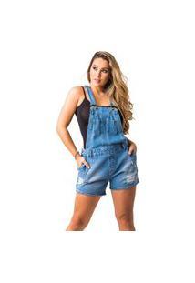 Macacão Jeans Zune Feminino Moderno Casual Conforto Macia Azul P Azul