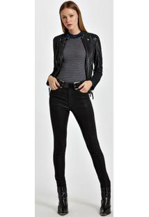 Calça De Sarja Basic Skinny High Resinada Colors Preto - 40